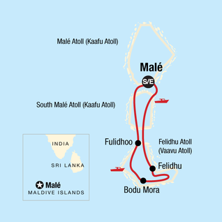Map of Maldives Cruise: Indian Ocean Dhoni Life
