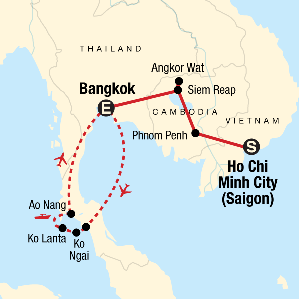 Map of the route for Classic Cambodia and Thai Islands – West Coast
