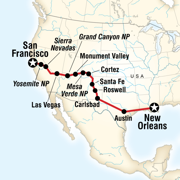 New Orleans To San Francisco Road Trip In United States