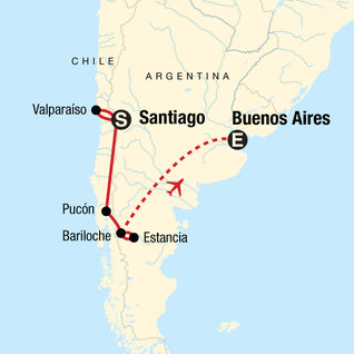 Map of Highlights of Chile & Argentina