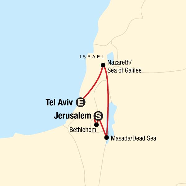 Tel Aviv Jerusalem Karte.Israel Und Mehr In Israel Norden Afrika Das Nahe Osten G Adventures