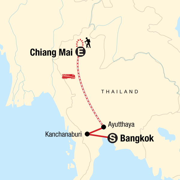 Map of the route for Northern Thailand Adventure