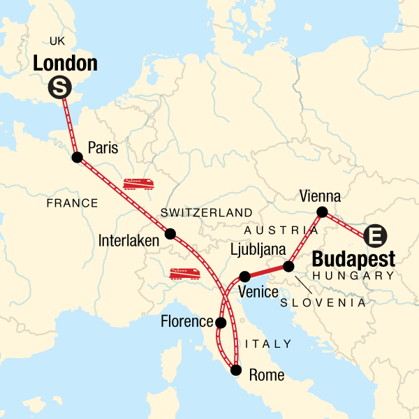 Map of the route for London to Budapest: Waterways, Wine & Bohemian Vibes