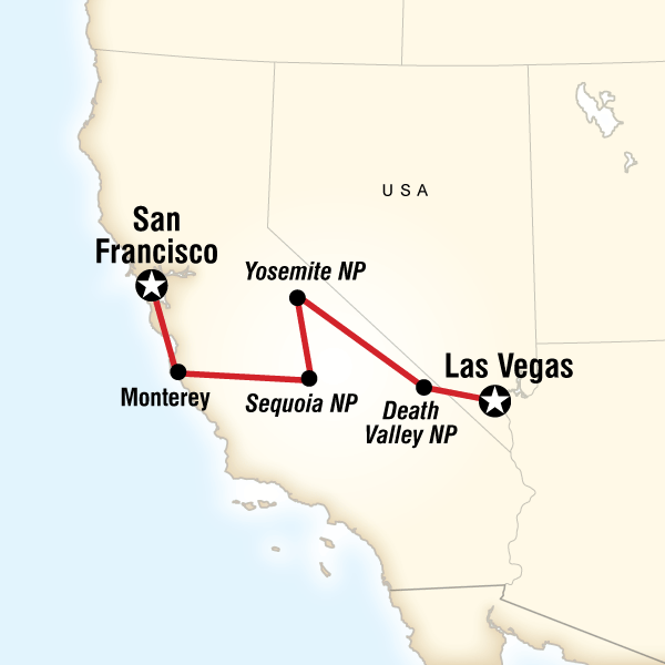 Map Of The Route For Natural Highlights Of California