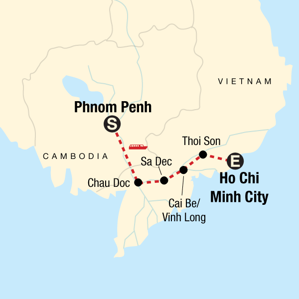 Map of the route for Mekong River Adventure – Phnom Penh to Ho Chi Minh City