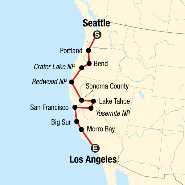 Map of the route for Pacific Coast Road Trip