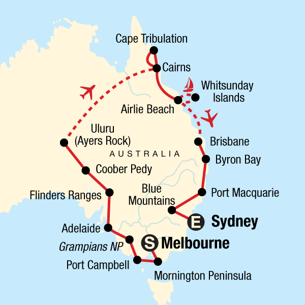 Map of the route for Best of the Red Centre & Eastern Australia