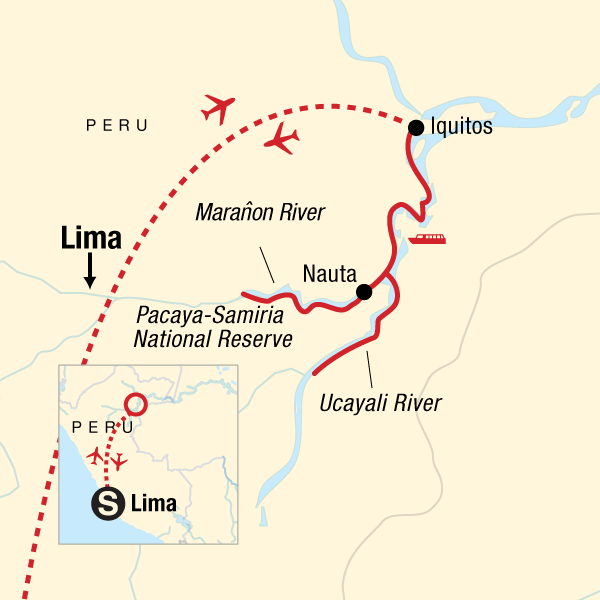 Map of the route for Amazon Riverboat Adventure In Depth