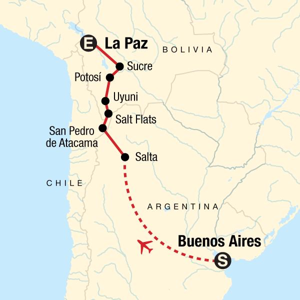 Atacama Wüste Karte.Erlebnisreise Durch Südamerika Von Buenos Aires Nach La Paz