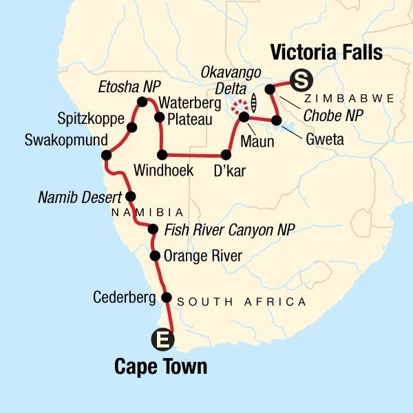 Der Süden Afrikas Südwärts – Dünen, Deltas & Wasserfälle in ...
