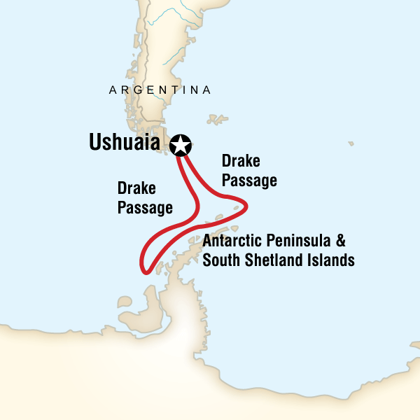 Map of the route for Quest for the Antarctic Circle