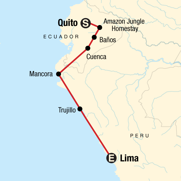 Map of the route for Quito to Lima: Surf Towns & Hot Springs