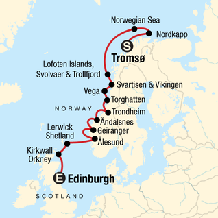 Map of Cruise the Norwegian Fjords
