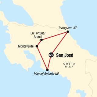 Map of Explore Costa Rica