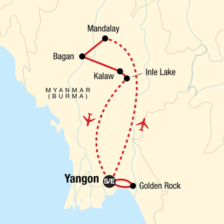 Map of Classic Myanmar Adventure