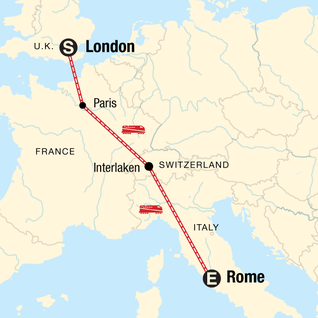 Map of London to Rome: Picnics & Pizza