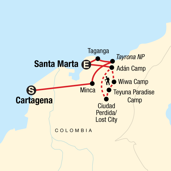 Map of the route for Colombia's Caribbean Coast & Lost City