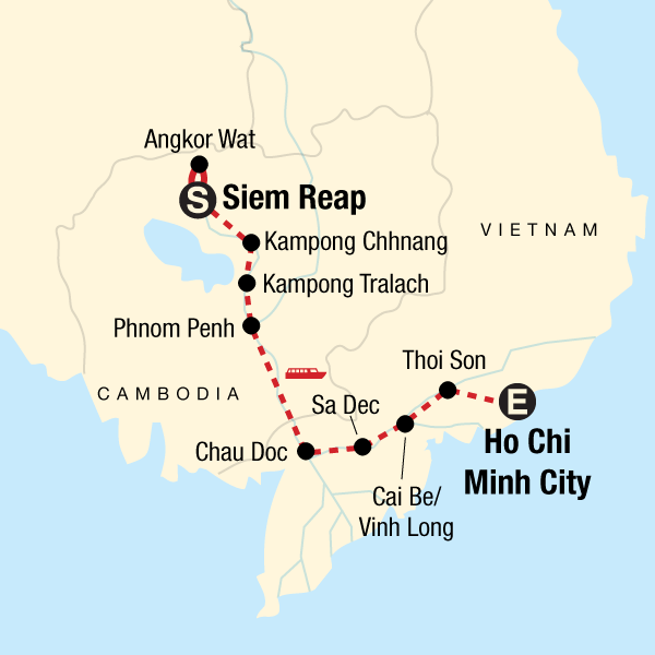 Map of the route for Mekong River Encompassed – Siem Reap to Ho Chi Minh City
