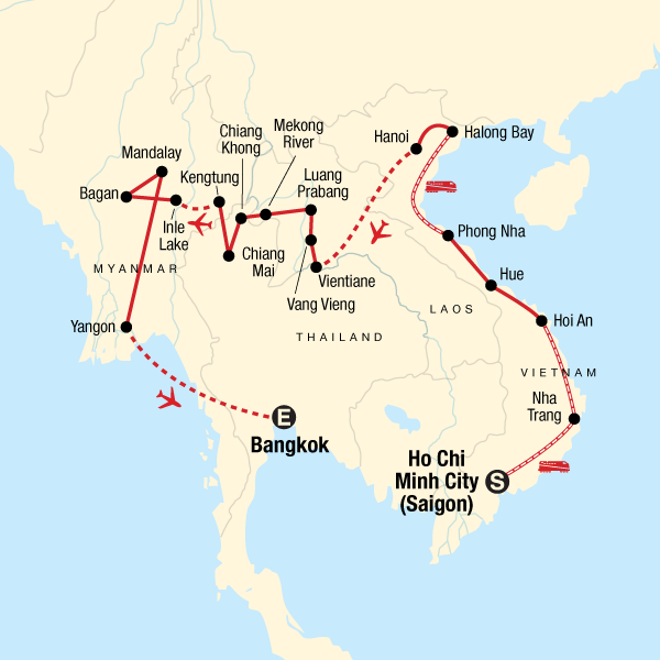 Map of the route for Vietnam, Laos & Myanmar: Beaches & Bliss
