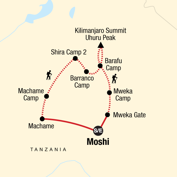 Map of the route for Mt Kilimanjaro Trek - Machame Route (8 Days)