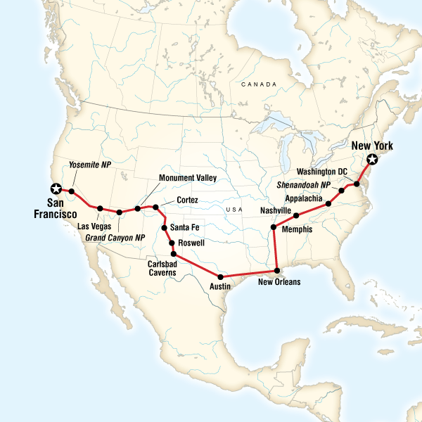 Southern Cross Country Westbound In United States North America - Map of southern us coast