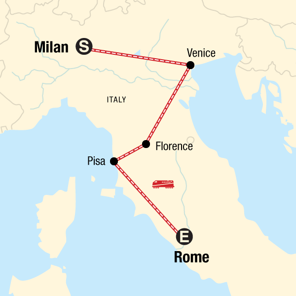 Map Of Italy Showing Pisa.Highlights Of Italy