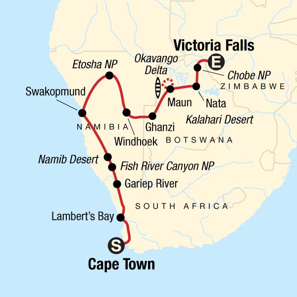 Map Of Africa Victoria Falls.Cape Town To Victoria Falls Adventure