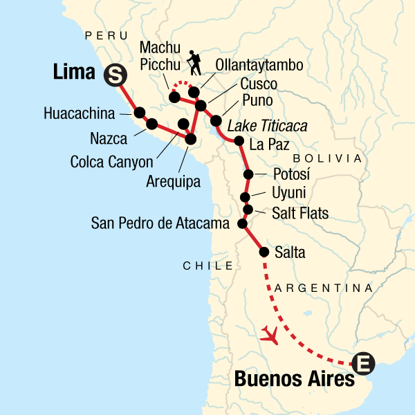 Map of the route for Lima to Buenos Aires: Deserts & Dancing