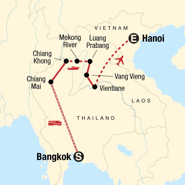 Laos Karte.Erlebnisreise Durch Thailand Und Laos In Laos Asien G Adventures
