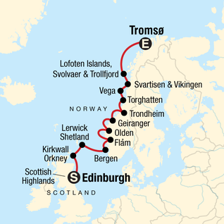 Map of Explore the Norwegian Fjords and Scottish Highlands