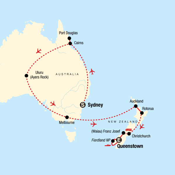 Map of the route for Explore Australia & New Zealand