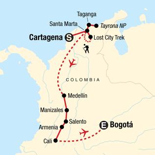Map of Cartagena to Bogota: Colonial Cities & Trekking