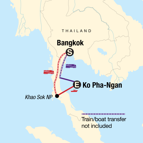 Map of the route for Thailand Full Moon Party