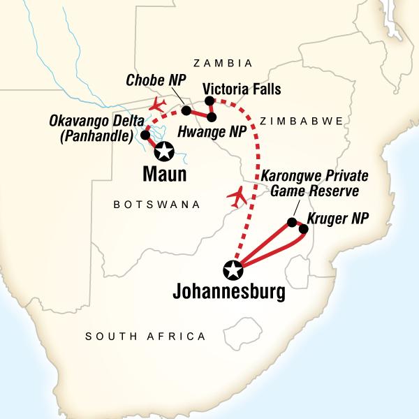 Cartina del tragitto per Southern Africa Safari Experience
