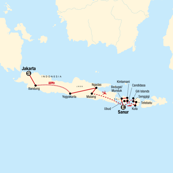Map of the route for Indonesia Java, Bali & Lombok