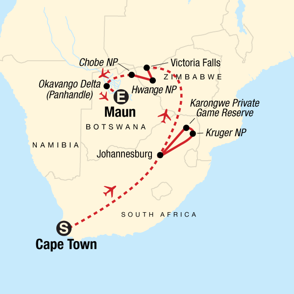 Safari Africa Map The Great Southern Africa Safari in Botswana, Africa   G Adventures