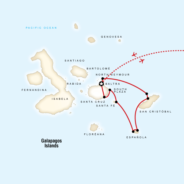 Map of the route for Galápagos — South & East Islands aboard the Yolita