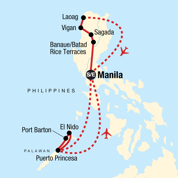 Map of the route for Northern Philippines and Palawan Adventure