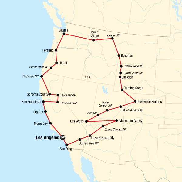Map of the route for Epic West Coast Road Trip
