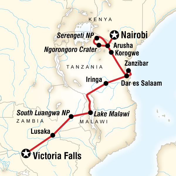 Map of the route for Victoria Falls and Serengeti Adventure
