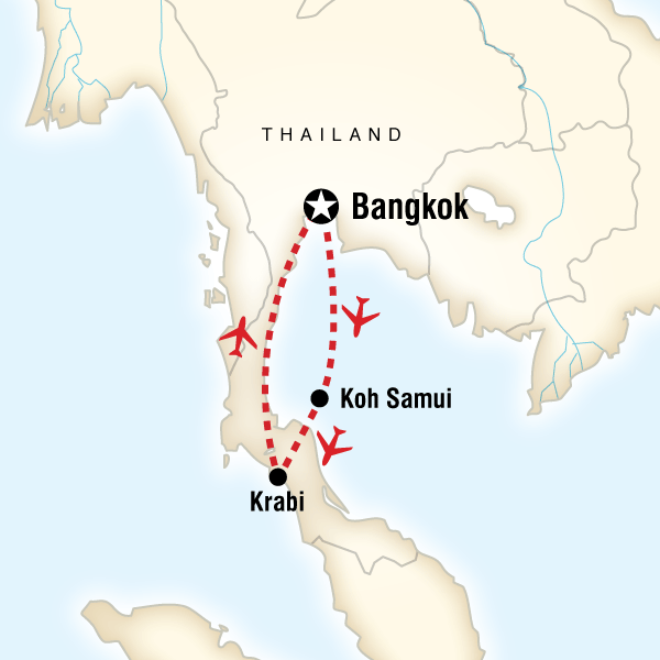 Map of the route for Southern Thai Delights