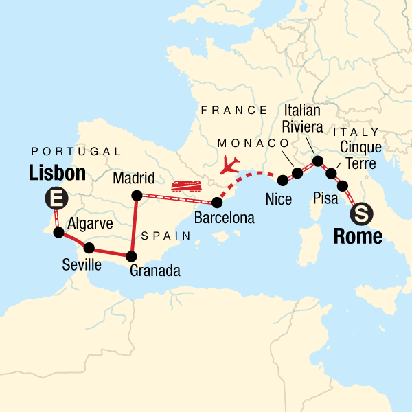 Map Of Spain Portugal And Italy.Rome To Lisbon On A Shoestring