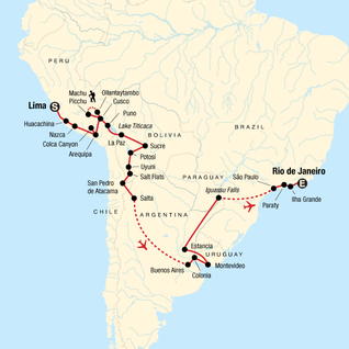 Map of Lima to Rio: Coast to Coast
