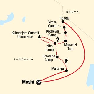 Map of Mt Kilimanjaro Trek - Rongai Route