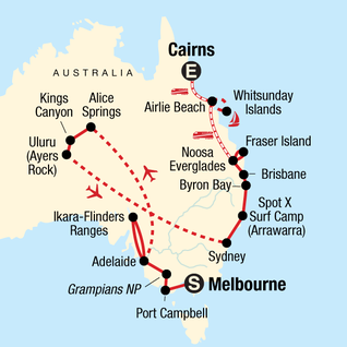 Map 8f Australia.Australia Tours Travel G Adventures