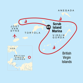 Map of Sailing the British Virgin Islands – Tortola to Tortola — Plus