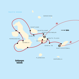 Map of Galápagos — East, Central, & West Islands aboard the Eden