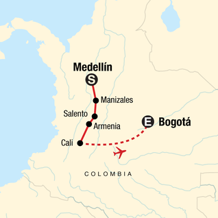 Map of Medellín to Bogota Adventure: Coffee & Salsa Sounds