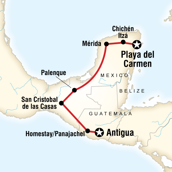 Map of the route for Mayan Trail