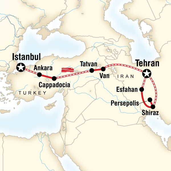 Map of the route for Istanbul to Tehran by Rail